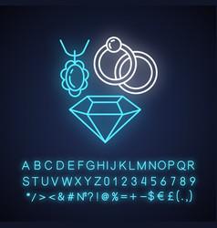 Jewelry neon light icon vector