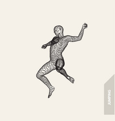 jumping man freedom concept 3d wire connection vector image