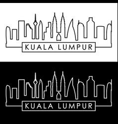 Kuala lumpur skyline linear style editable file vector