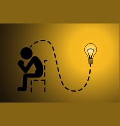 Light bulb glow thinker vector