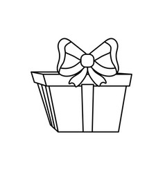line present gift with ribbon bow decoration vector image