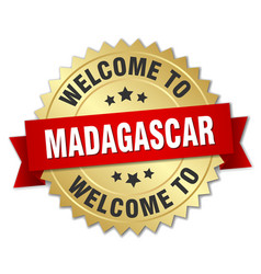 Madagascar 3d gold badge with red ribbon vector
