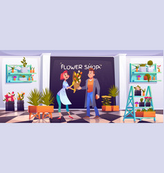 man buying bouquet in flower shop floristic store vector image