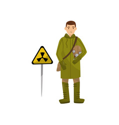 Military man in protective clothing and gas mask vector
