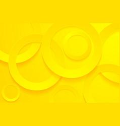 Modern yellow backgrounds 3d circle papercut vector