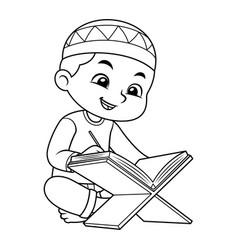 Moslem boy reading koran bw vector