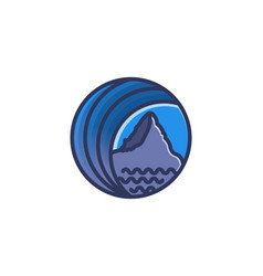 mountain and wave landscape logo designs vector image