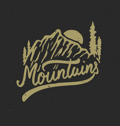 mountains hand drawn with mountains vector image
