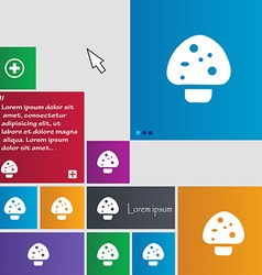 Mushroom icon sign buttons modern interface vector