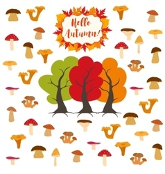 Mushrooms autumn pattern vector