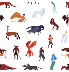 mythical creatures seamless pattern isolated vector image