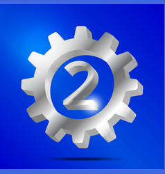 Number 2 silver gear vector