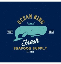 Ocean King Seafood Supplyer Retro Label or vector image