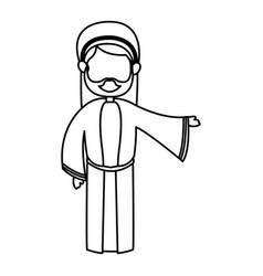 Outlined joseph man manger character vector