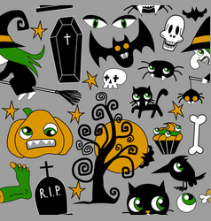 pattern of halloween element patches pumpkin vector image