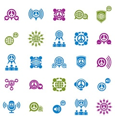 Peace earth and society unusual icons set creative vector image