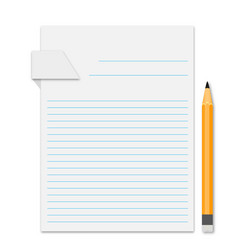 piece of paper with a pencil and shadow vector image