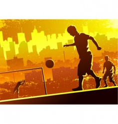 Playing soccer vector
