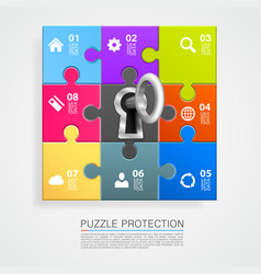 Puzzle infographics with key vector