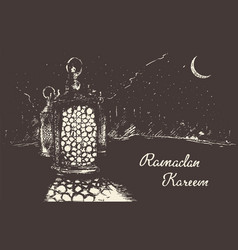 ramadan celebration engraved drawn vector image