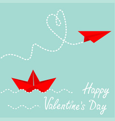 red origami paper boat and paper plane dash heart vector image
