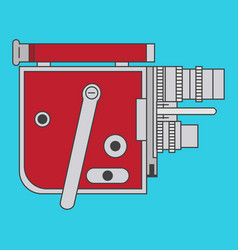 Red vintage camera in a flat style vector