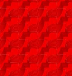 Retro 3D red zigzag cut ribbons vector image