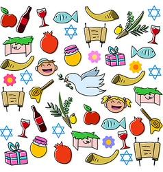 Rosh hashanah holidays symbols pack vector