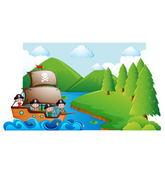 Scene with kids on pirate ship vector