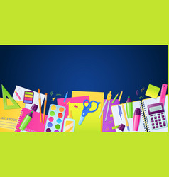 school poster with stationery education supplies vector image