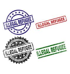 scratched textured illegal refugee stamp seals vector image