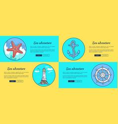 sea adventure template colorful web banner vector image
