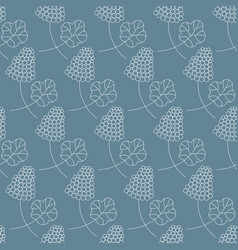 seamless pattern with bunch berries and leaf vector image