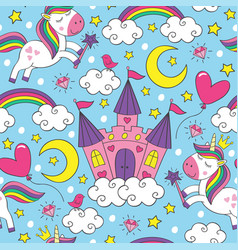 seamless pattern with unicorn and castle vector image