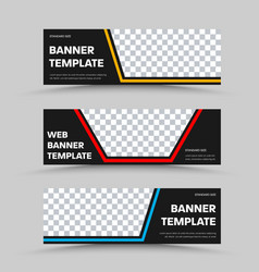 set black horizontal web banners with place vector image