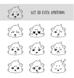 set of 10 linear funny cavy emoticons vector image