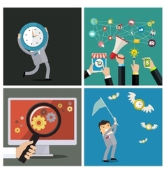 Set of business concepts time management vector