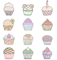 Set of cute cupcakes and muffins vector