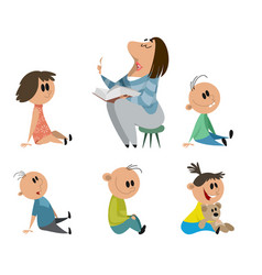 set of kindergarten characters vector image