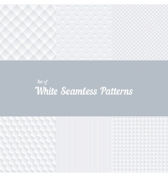 Set of white seamless patterns vector image