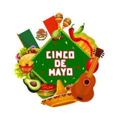 Sombrero guitar and maracas cinco de mayo party vector