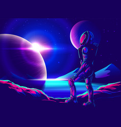 space exploration art in comic style vector image