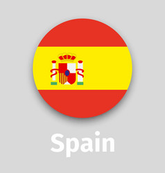 Spain flag round icon with shadow vector