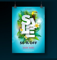 Summer sale poster design template with flower vector