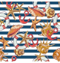 Summer Seamless Pattern with Sea Shells Anchor vector image