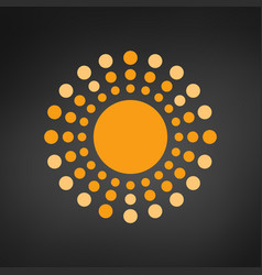 sun with rays circles geometric design isolated vector image