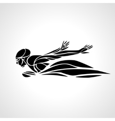 Swimmer Butterfly Stroke black silhouette vector