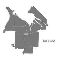 Tacoma washington city map with neighborhoods vector