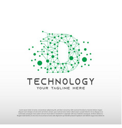 Technology logo with initial d letter network vector