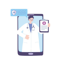 Telemedicine smartphone male doctor with report vector